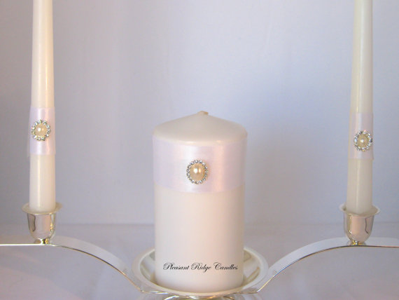 Свадьба - White Unity Candle Wedding Candle Pearl Unity Candle Rhinestone Unity Candle Bling Unity Candle Cheap Unity Candle Size Color Ribbon Choice