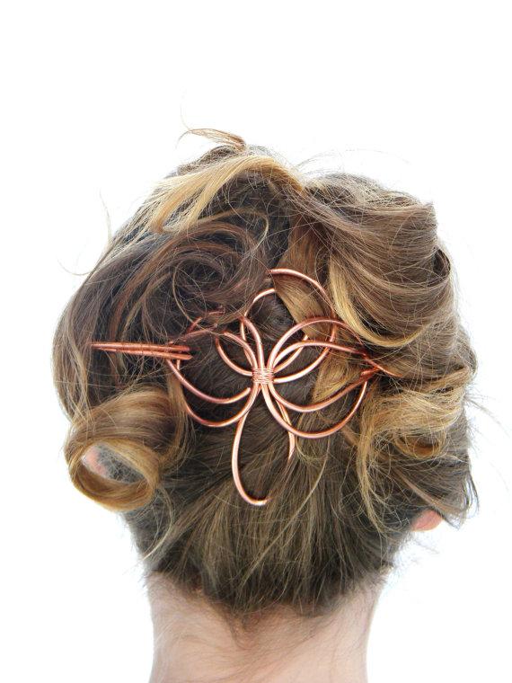Mariage - Angel, Hair Slide, Hair Accessories, Copper, Hair Barrette, Hair Stick, Bridal Hairpiece, Formal, Wedding, Hair Clip, Hair Pin, Hair Sticks,