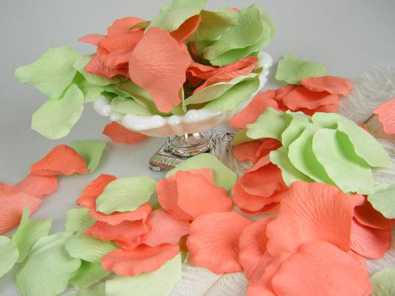 Coral & Mint Green Artificial Rose Petals #2334880 - Weddbook