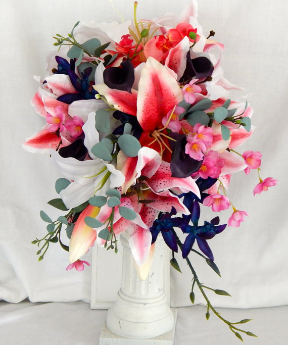 Свадьба - Cascade Bridal Bouquet Tiger Lilies Rubrium and White Calla Lilies Blue Galaxy Orchids Grooms Boutonniere- Customized To Your Wedding Colors