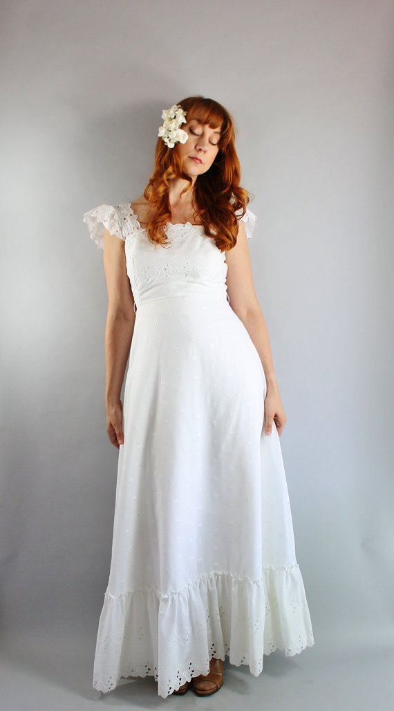 Vintage 70s White Eyelet Fl Lace Long Maxi Bohemian Woodland Wedding Gown Dress