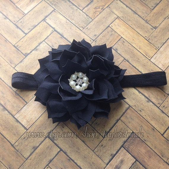 Mariage - Black Bling Flower Headband