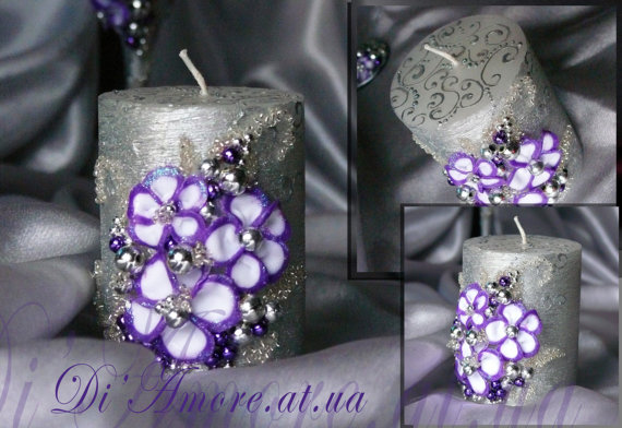 Hochzeit - Purple and Silver Wedding unity candle from the collection Art FlowersPerls Wedding Silver & Purple WeddingViolet unity candle  1 pcs