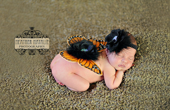Mariage - The Mia - Newborn to Toddler Baby Monarch Butterfly Wings with Sequin Centered Bloom - Jeweled Angel Butterfly Wing and Headband Set
