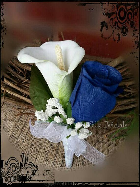 Свадьба - Royal blue white calla rose Boutonniere Groom groomsman father bridal silk wedding flowers prom homecoming graduation