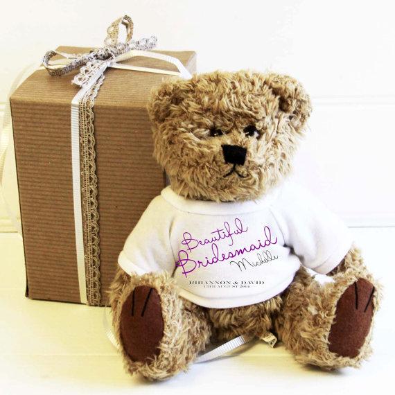 Свадьба - Personalized traditional style teddy bear Beautiful Bridesmaid Flowergirl wedding favor