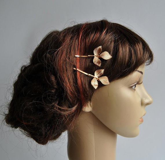 Mariage - Gold Leaf Bobby Pins Bridal Hair Accessories Bridal Hair Pins Bridal Hair Clips Rustic Woodland Wedding  Grecian Hair Accessories
