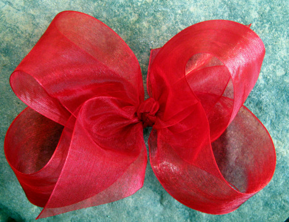 Mariage - X Large KING Size Sheer Organza Hair Bow in Red
