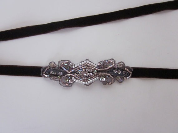 Wedding - Bronze 1920s Headband Belt Great Gatsby Pearls Metallic thread headpiece velvet ribbon bridal headband