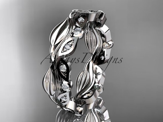 Wedding - Platinum diamond leaf and vine wedding ring,engagement ring,wedding band  ADLR268