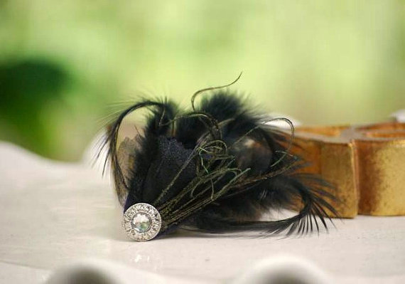 Mariage - Bridesmaids Hair Clip Black Feathers & Silver Rhinestone Gem, Autumn Bride Bridal Party Gift. More Red Green Ivory White Teal Navy Aqua Blue
