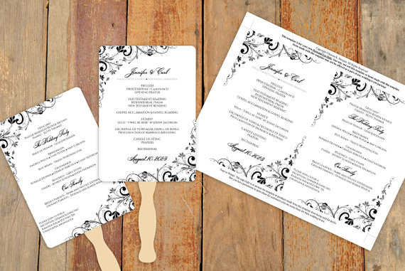 Wedding - Diy Wedding Fan Program Template - DOWNLOAD Instantly - EDITABLE TEXT- Chic Bouquet (Black) 5 x 7 - Microsoft® Word Format