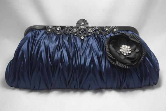 Mariage - Navy Blue Handbag with Flower and Black Frame - Dark Blue Evening Clutch - Blue Wedding Clutch - Navy Bridesmaid Purse - Satin Flower Clutch