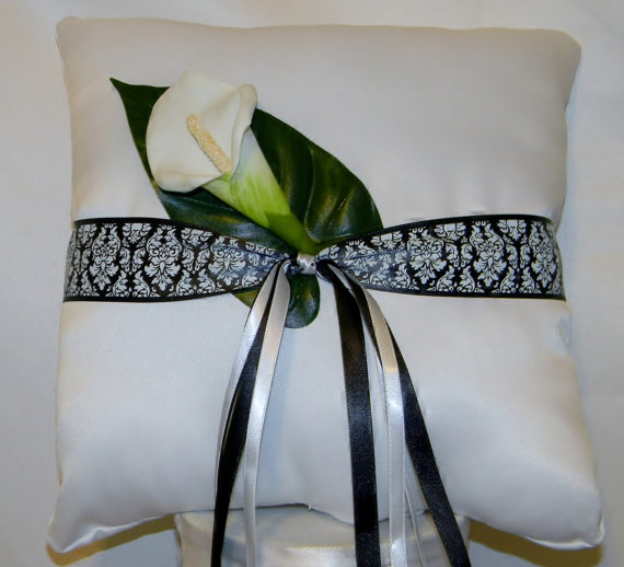 wedding ring bearer pillow white black and white damask