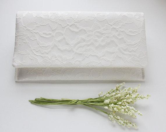 Mariage - Set of 5 Clutches, Ivory Clutch, White Clutch, Bridal Purse, Lace Wedding Clutch, Bridesmaid Gift Idea, Wedding Gift, Bouquet Alternative
