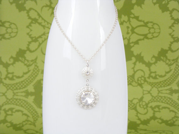 Crystal Bridal Necklace Wedding Necklace Rhinestone Necklace Wedding Jewelry Set Old