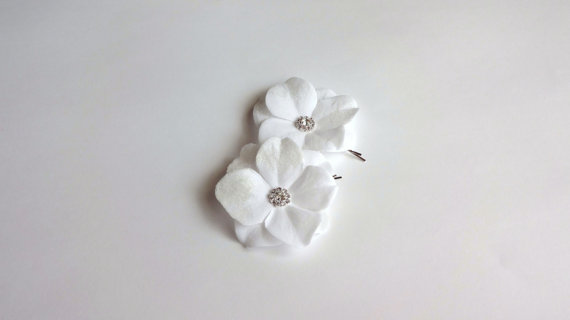 Mariage - White Off Bridal Hydrangea Velvet Flowers with Crystals Hair Pins or Shoe Clips