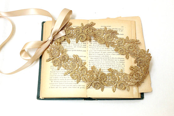 Wedding - Gold Flower Metallic Lace with Champagne Satin Sash // Headband , Head Tie // Wedding Headband // SH-12