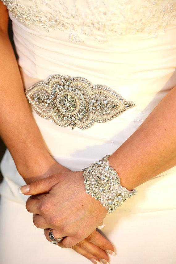 Mariage - Maya Bridal Sash, Beaded Sash, Wedding Dress Sash, Crystal Belt, Embellishment, Applique
