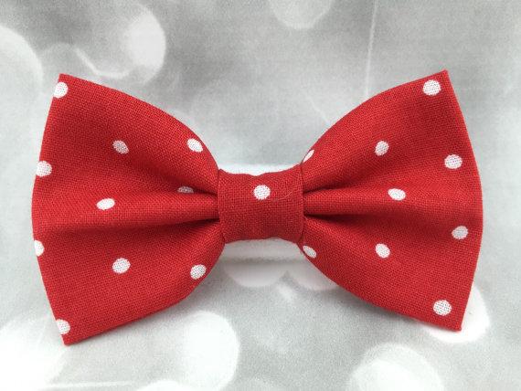 زفاف - Red & White Polka Dot Dog Cat Pet Bow Tie