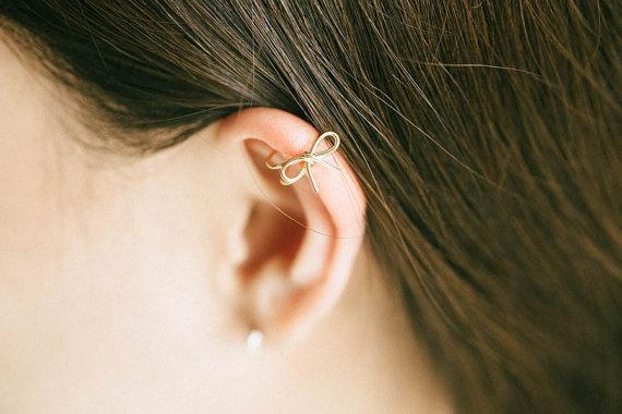 Ribbon Adjule Earcuff Ear Cuff Cartilage Earring Bridesmaid Gift Non Pierced Single Wrap S Cute Srn100