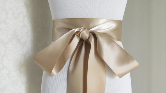 Mariage - Champagne Satin Ribbon Sash / Ribbon Sash / Satin Bridal Sash /  bridesmaid Sash /