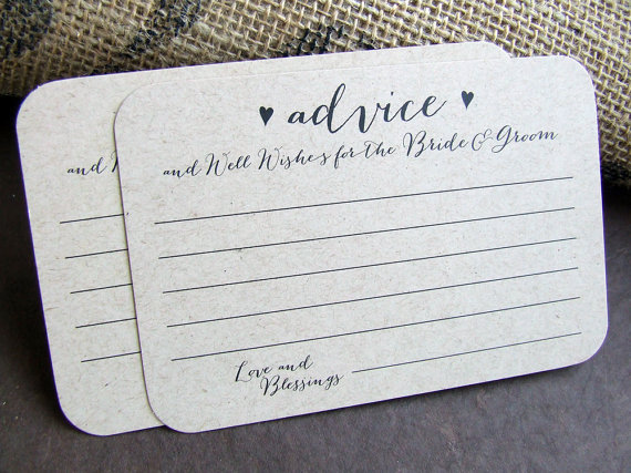 100 Wedding Advice For The Bride And Groom Printed Cards Well Wishes ...