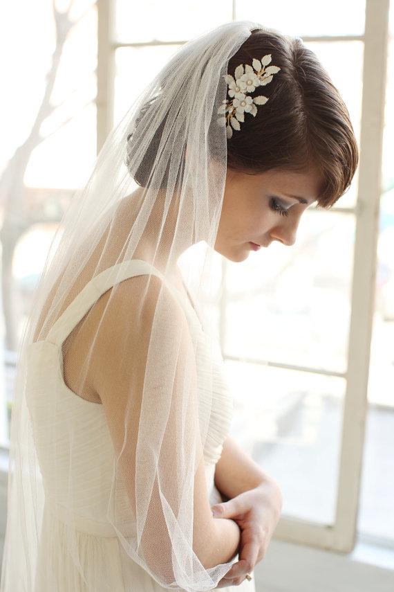Свадьба - Wedding Veil, Silk Tulle Fingertip Length Veil, Bridal Veil- MADE TO ORDER – Style 1514