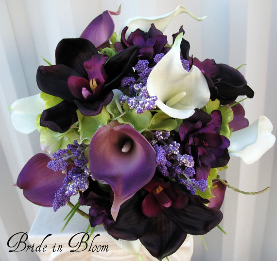 Wedding - 6 piece Wedding bouquet set real touch purple white calla lily bridal bouquets