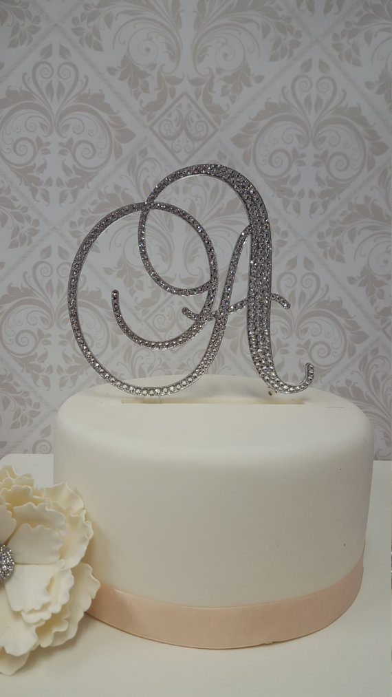 6 Inch Tall Monogram Wedding Cake Topper   Spectacular Fonts