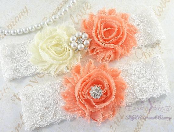 Mariage - Wedding Garter, Garters, Bridal Garter, Garter, Rosette Ivory and Peach Garter, Sexy Garter, Handmade Garter, Lace Garter Belt GTF0026PE