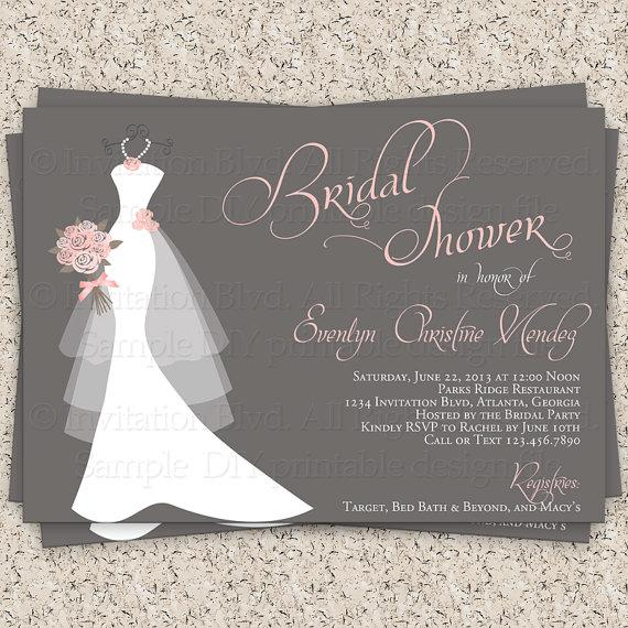 Bridal Shower Invitation Wedding Dress Invitations On Hanger Printable