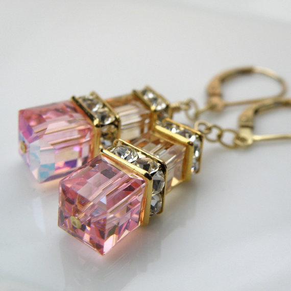 Mariage - Light Pink and Champagne Wedding Jewelry, Gold and Pink Bridesmaids Earrings, Blush Pink Swarovski Crystal, Gold Filled Bridal Spring