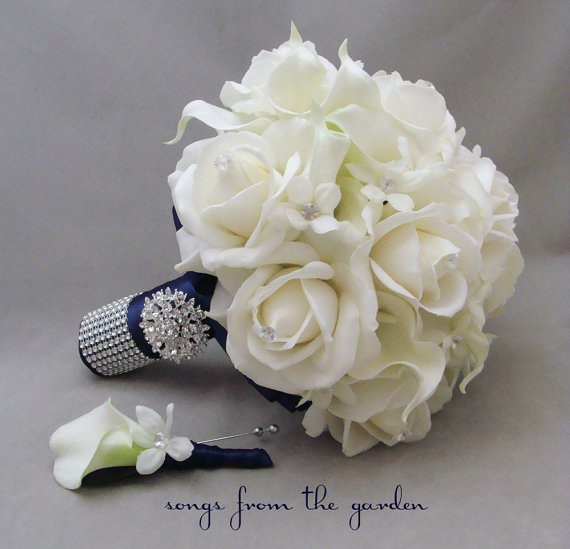 Mariage - Reserved - Navy White Wedding Flower Package Bridal Bouquet Stephanotis Real Touch Roses Calla Lily Groom's Boutonniere Parents' Flowers