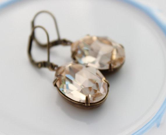 Mariage - Swarovski Light Silk earrings, oval earrings, Champagne earrings, Swarovski earring, bridal earring, bridal jewelry, matching earrings -CS02
