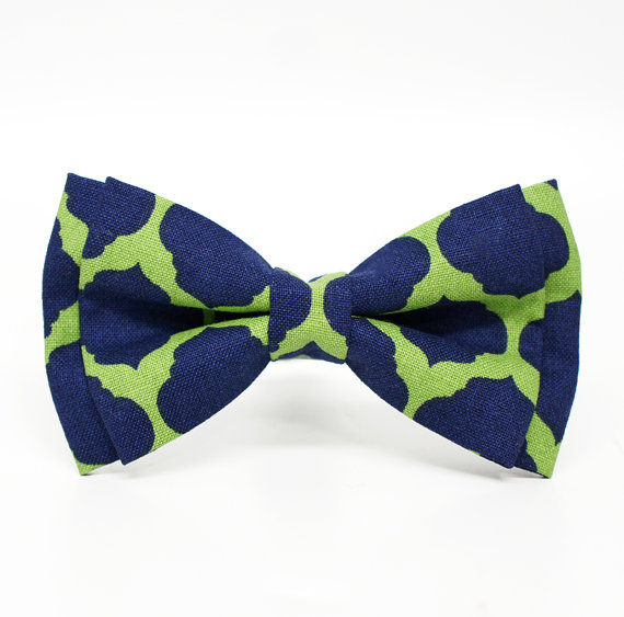 Wedding - Green and Navy Merletto Fiesta pre-tied bowtie for Boys, Toddlers, Baby - adjustable strap/ classic clip on, wedding day, ring bearer