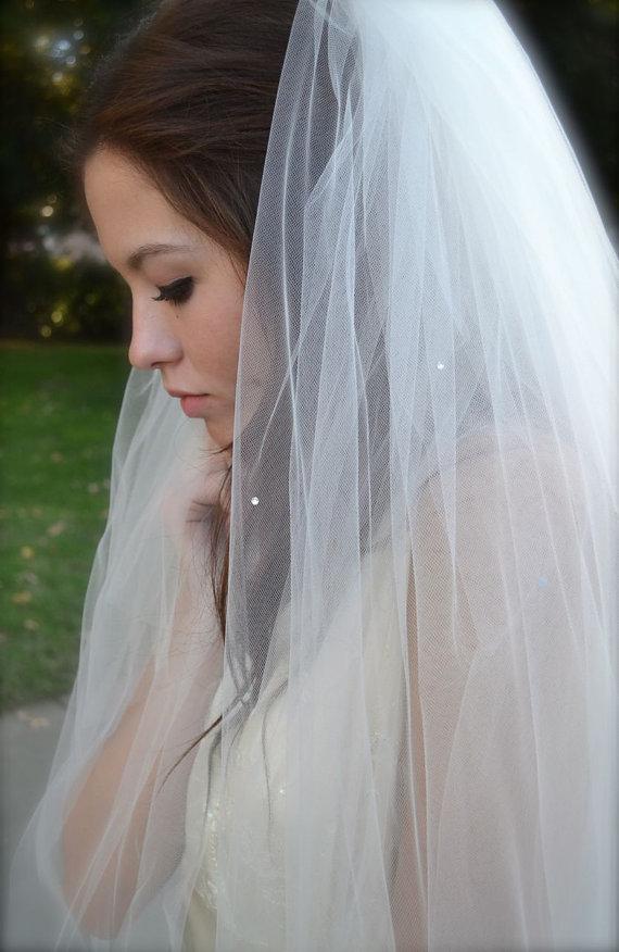 Wedding - Swarovski Crystal Veil 50 inch long Waltz Veil and Blusher, ankle, tea length Wedding Veil  white, ivory, champagne illusion tulle