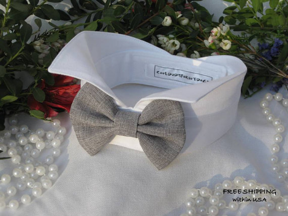 Gray Bow On Wingtip Tuxedo Dog Collar Ring Bearer Wedding Attire Tie Free Shipping Within Usa
