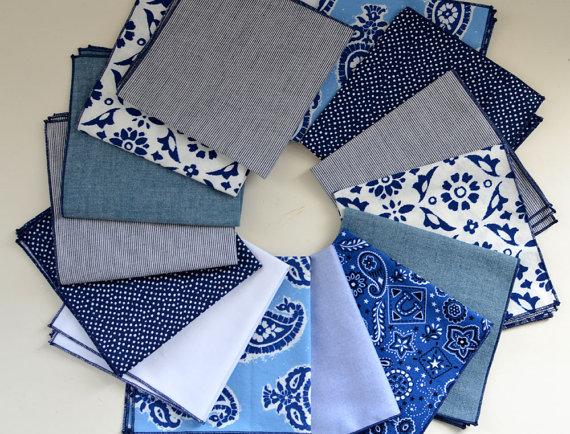 Свадьба - Men's Pocket Square Gift Set of 3- cotton washable groomsmen wedding handkerchiefs suit jacket