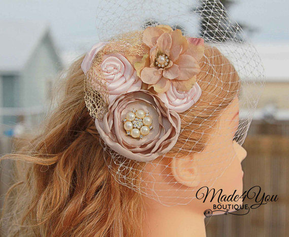 Свадьба - 53 Different Colors - Champagne Birdcage Veil-Blush and Champagne Bridal Fascinator-Wedding Headpiece-Plum and Red Also Available