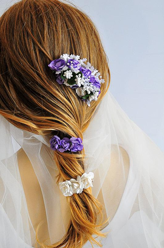 Mariage - Wedding Flower Hair Comb, wedding hair accessories, hair clip, bridal Flower hair Comb, Hair Flower, Bridal Hair Accessory, purple, white