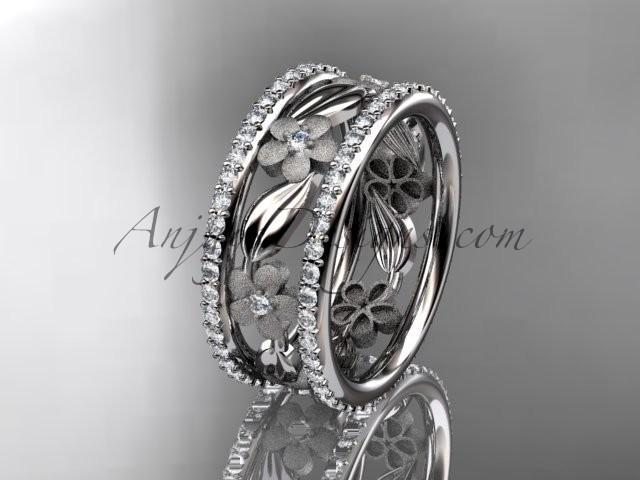 Свадьба - 14k white gold diamond flower wedding ring, engagement ring ADLR233