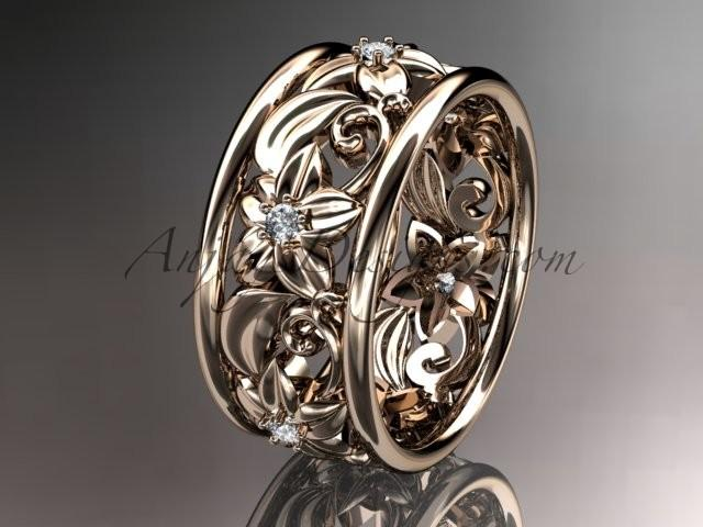 Wedding - 14kt rose gold diamond leaf and vine wedding ring, engagement ring ADLR150