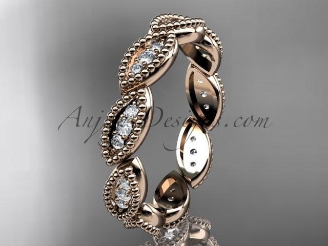 Wedding - 14kt rose gold diamond leaf wedding ring, nature inspired jewelry ADLR241