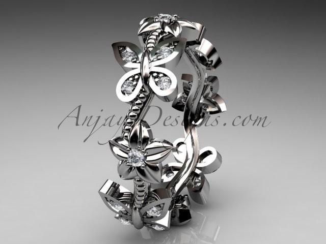 زفاف - platinum diamond floral butterfly wedding ring, engagement ring, wedding band ADLR139