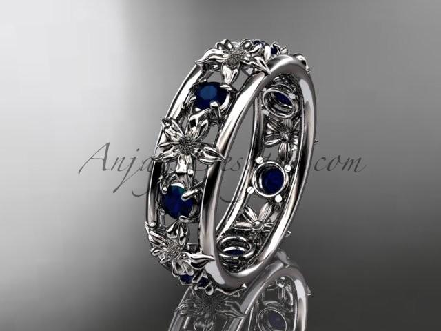 Hochzeit - 14kt white gold diamond leaf wedding ring,engagement ring, wedding band. ADLR160 nature inspired jewelry