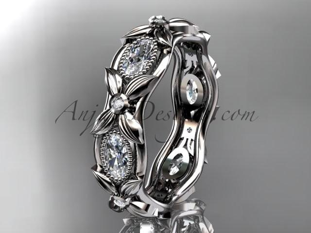 Wedding - 14kt white gold diamond leaf and vine wedding ring, engagement ring. ADLR152. Nature inspired jewelry