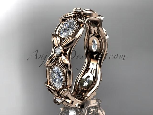 Wedding - 14kt rose gold diamond leaf and vine wedding ring,engagement ring. ADLR152. Nature inspired jewelry