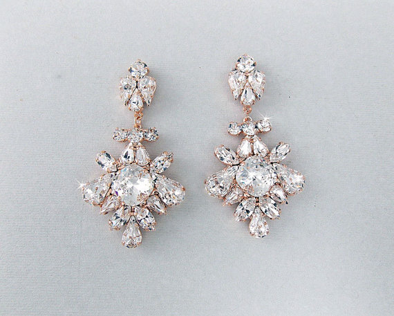 Wedding Earrings Chandelier Bridal Rose Gold Vintage Style Crystal Swarovski Crystals Lydia