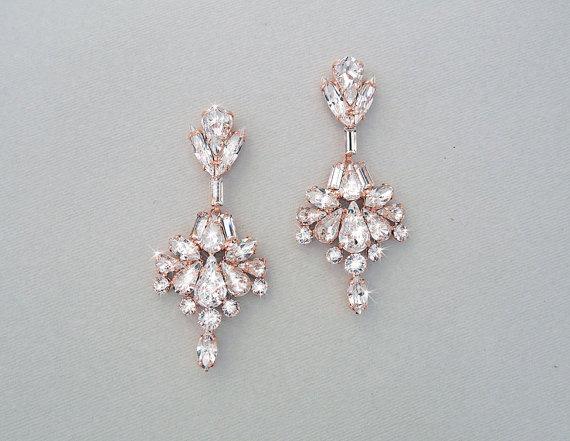 Wedding Earrings - Chandelier Earrings, Bridal Earrings, ROSE GOLD ...